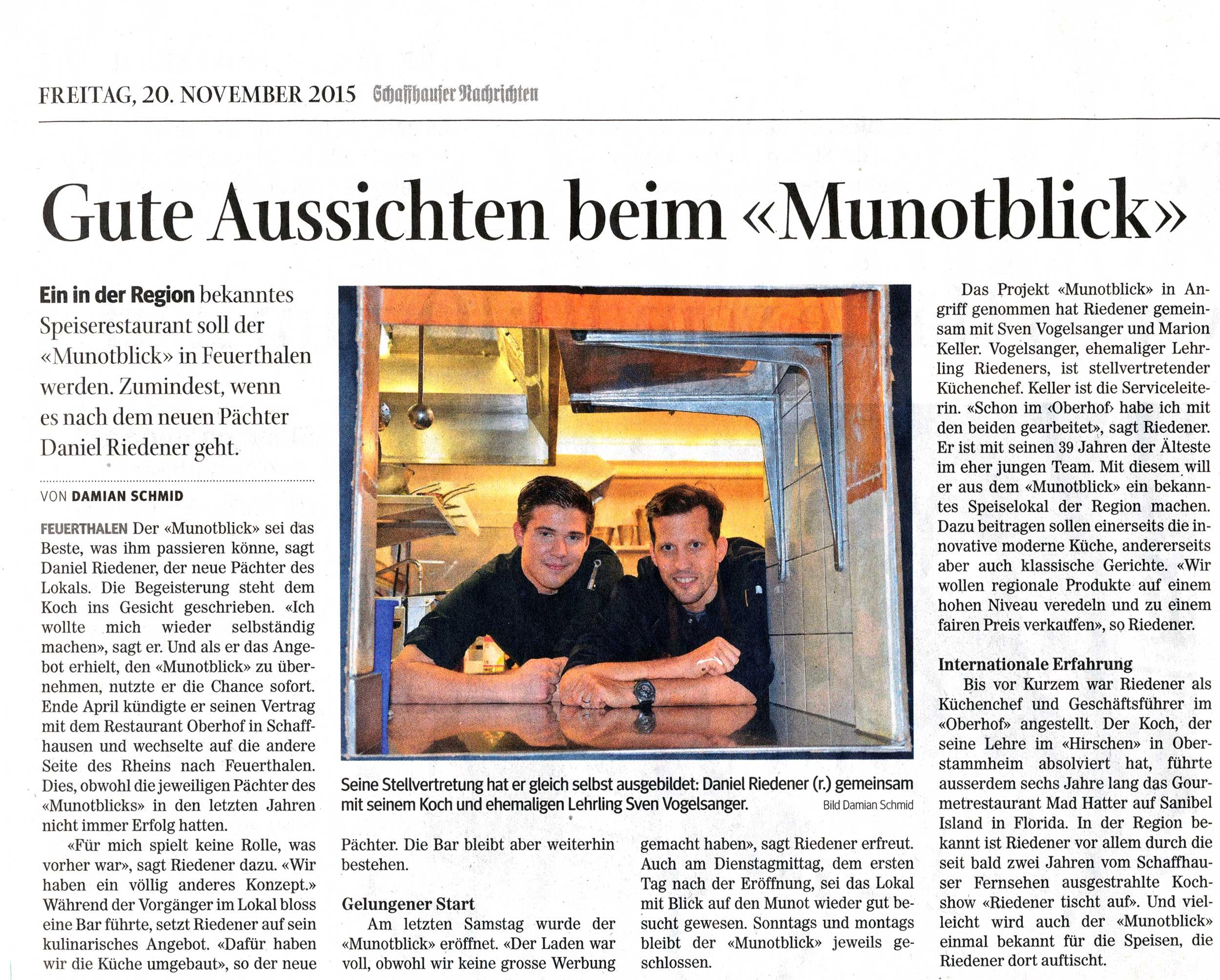 Eröffnung Restaurant Munotblick Feuerthalen bei Schaffhausen