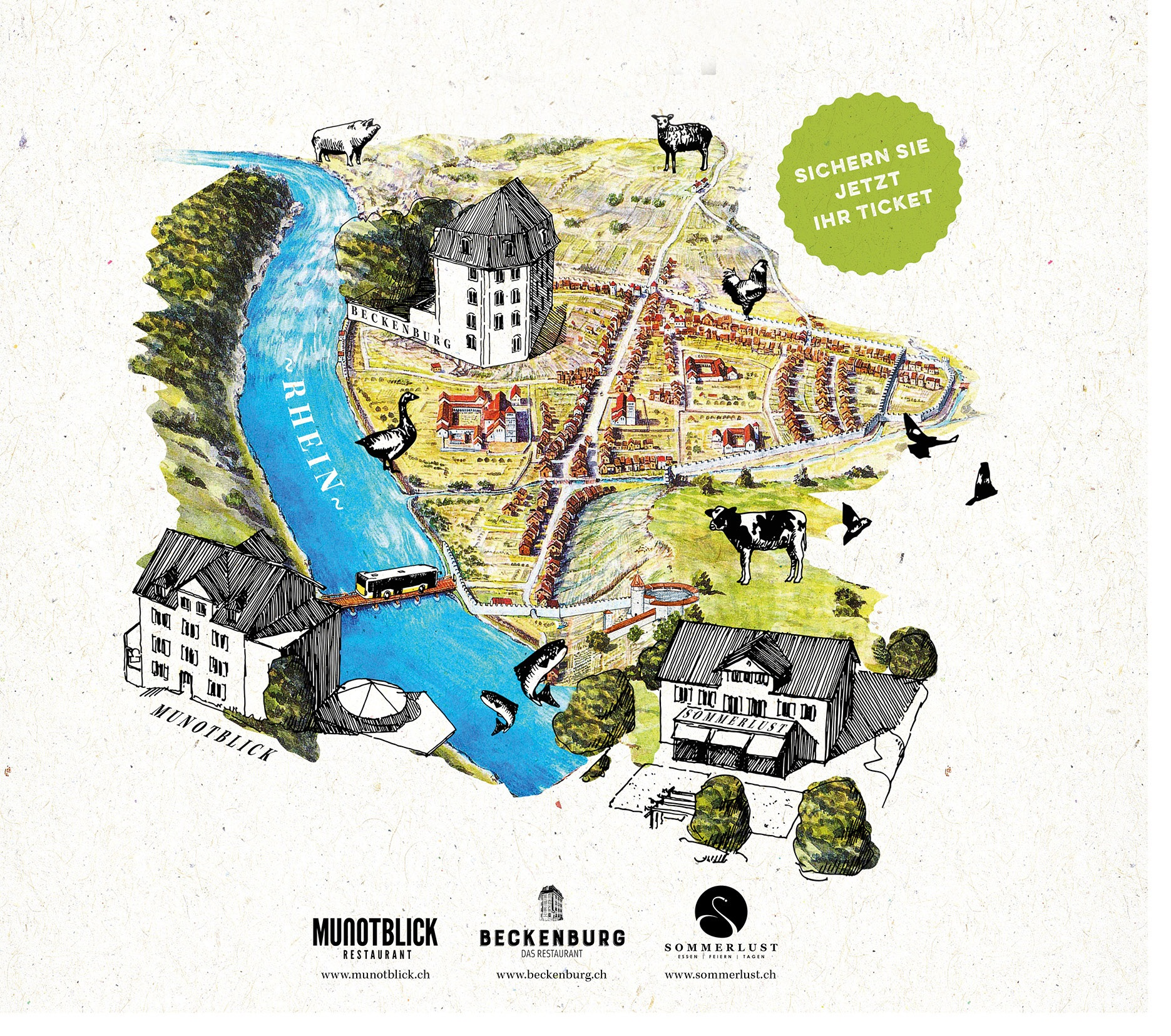 Blick. Burg. Lust. Drei Restaurants. Ein Abend. Ein Bus.   Am Freitag, den 27. September 2019 nehmen wir Sie mit auf eine kulinarische Entdeckungsreise durch Schaffhausen.