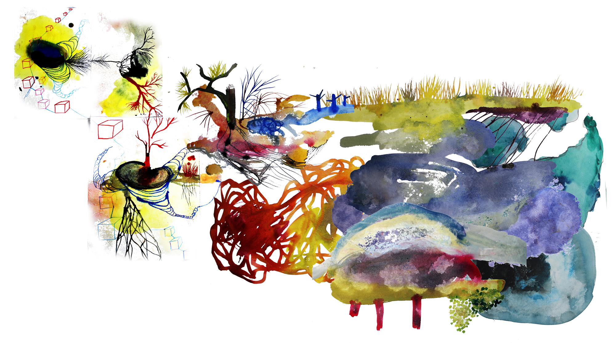 Biophilia , a Watercolor and Ink Painting by Falon Mihalic