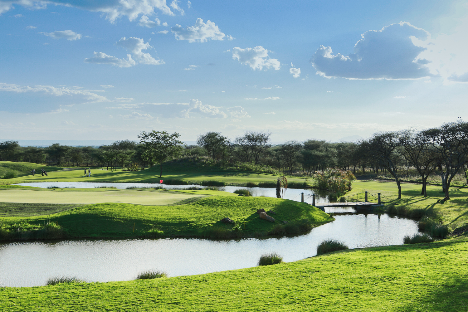 The beautiful bridge that takes you onto the island green at the 18th