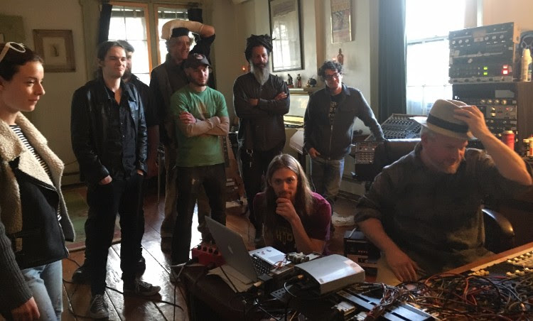 """Our musical collaborators recording """"Crealitation, the Musical."""" Old Soul Studios, Catskill, NY. May 2016. Photo by G.E. Fox."""