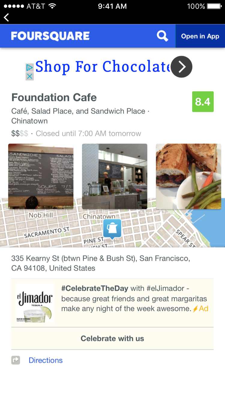 The Web View displays more in-depth information from Foursquare, the API used for restaurant location and info.