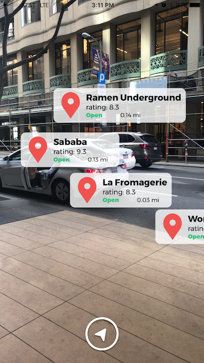 The augmented reality view where the camera displays annotations with restaurant information. -