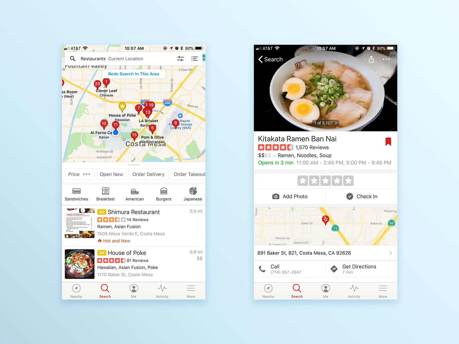 Yelp's search result page (left) and restaurant information page (right).