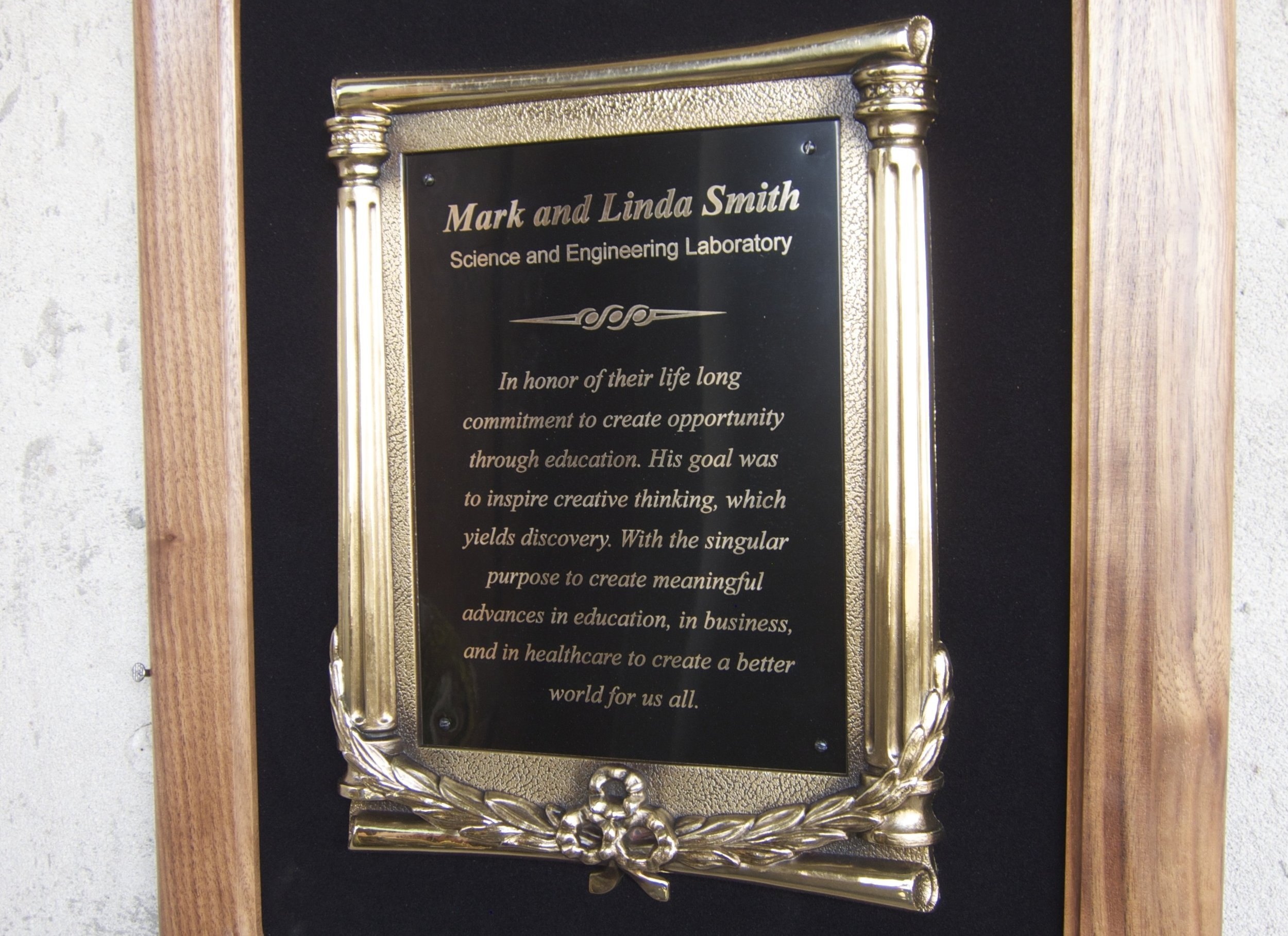 The plaque at Nigerian Christian Hospital recognizing the Smith Family Foundation's generous donation.