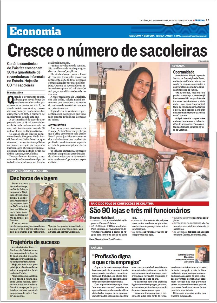 15-10-12 Cresce o número de sacoleiras - Economia - A Tribuna.jpg
