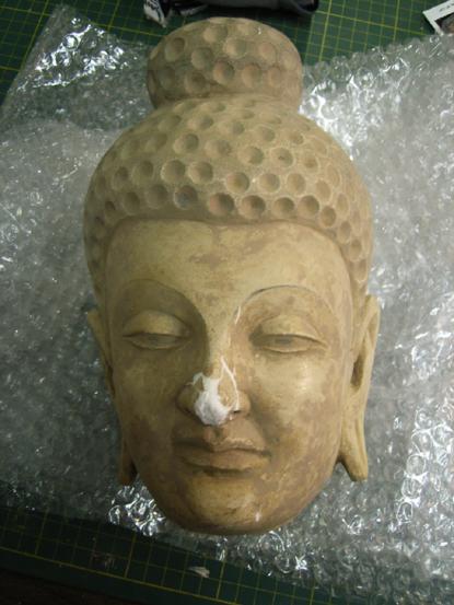 during treatment. plaster sculpture