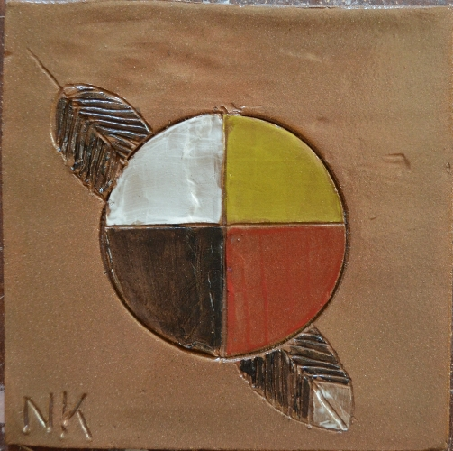 really nice version of the medicine wheel and the four directions...with a feather