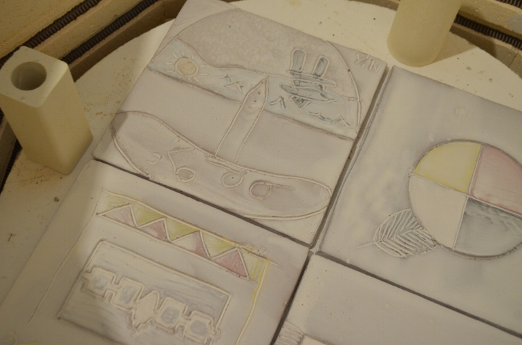 tiles loaded into the kiln before firing