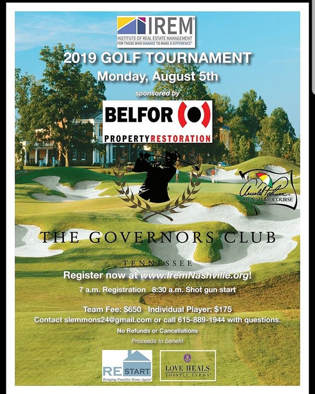 IREM is hosting a Golf Tournament on August 5th, with proceeds benifiting their community partners, Thistle Farms and REStart.  You can participate as a team or as an individual.  Register at: www.IREMNashville.org Or call:  615-889-1944  #iremnashville  #thistlefarms  @ireminfo @thistlefarms