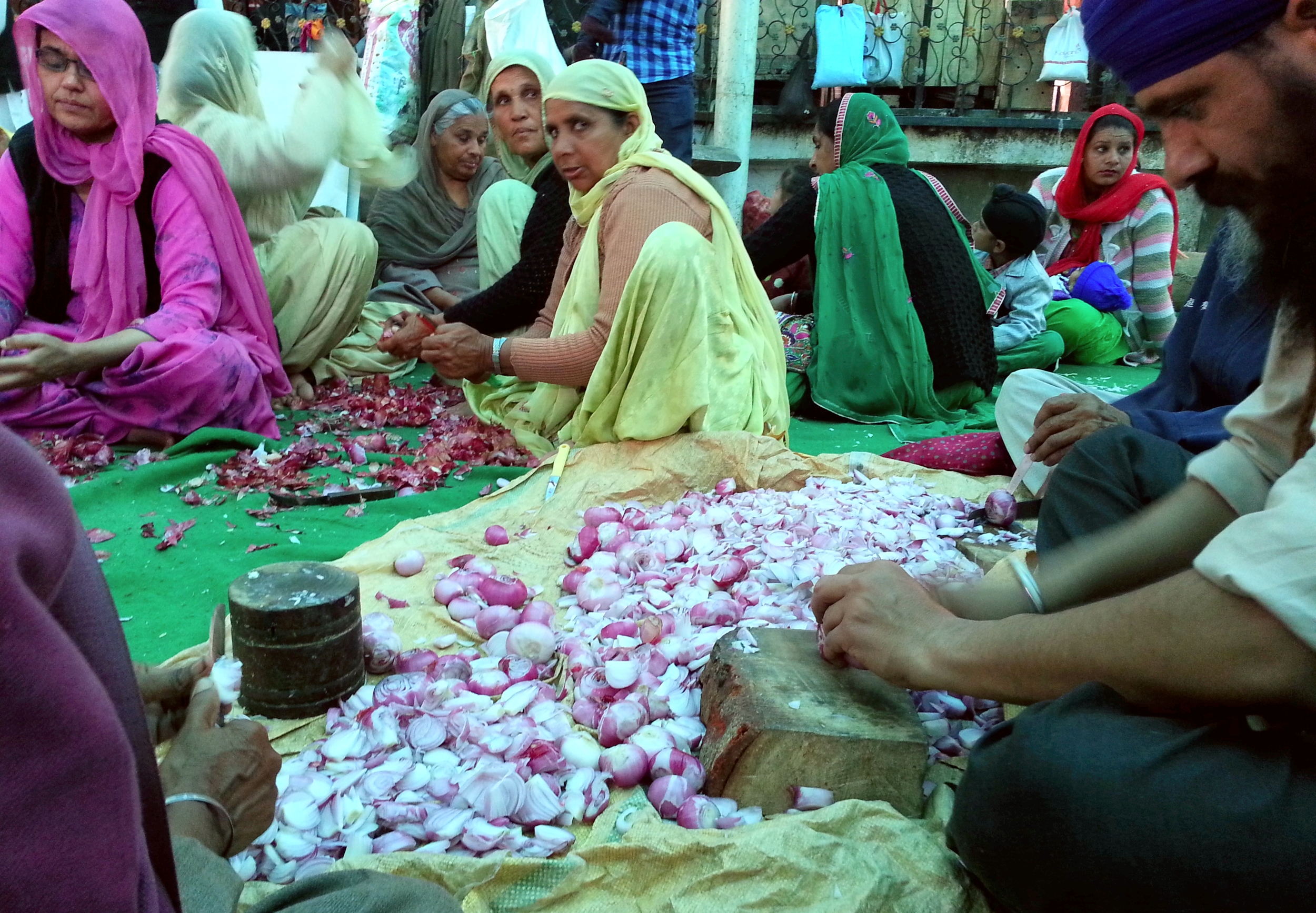 Pilgrims prepare food at the Sikh Golden Temple in Amritsar, India.