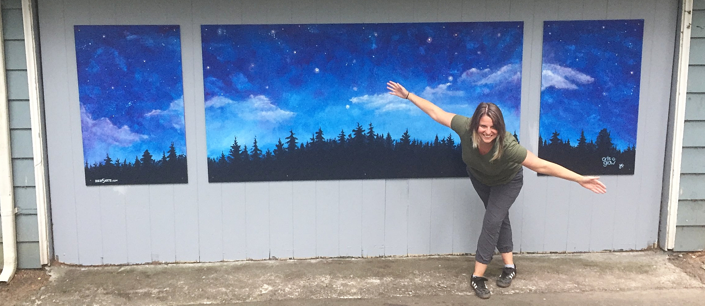 Thank you Burien for the opportunity to create a mural for Arts-A-Glow's 10th anniversary. Arts-A-Glow is very dear to my heart, I have been producing it with 2 Co-Producers Gina Kallman and Kathy Justin for the past 6 years, before that I was an installation artist and a face painter. For the 2017 Arts-A-Glow the opportunity came up to paint a permanent mural in Dottie Harper park that represents the magic of Arts-A-Glow. It was an honor to create the mural, it is dedicated to all the countless hours that go into creating an event that pays artists and brings art to all incomes.Stop by the park anytime and enjoy this amazing skyline.  To learn more about Arts-A-Glow check out the event on Facebook @ArtsAGlow.