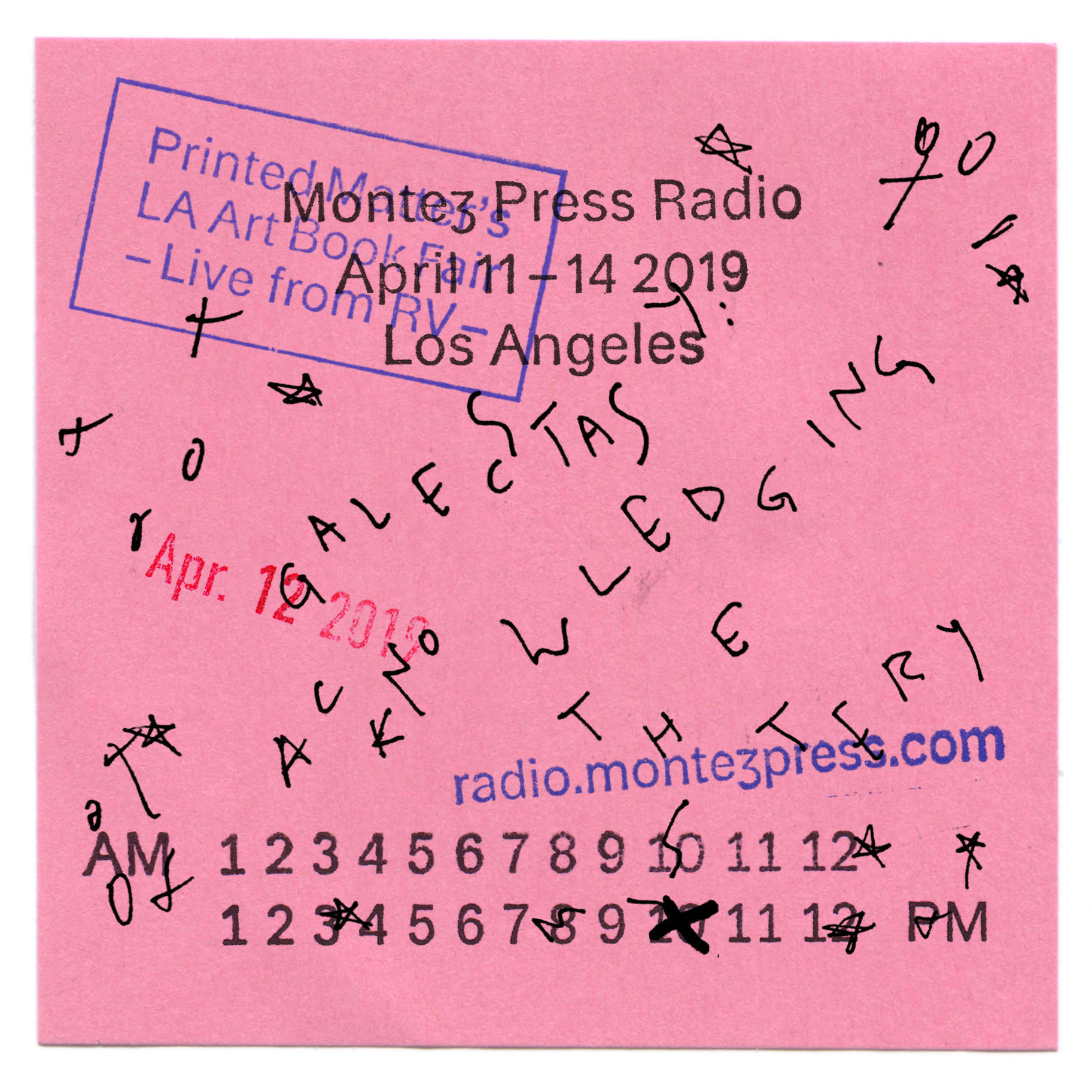 Live at L.A. Art book fair with Montez Press RAdio 2019 by GALECSTASY - GALECSTASY is raquel bell & jared