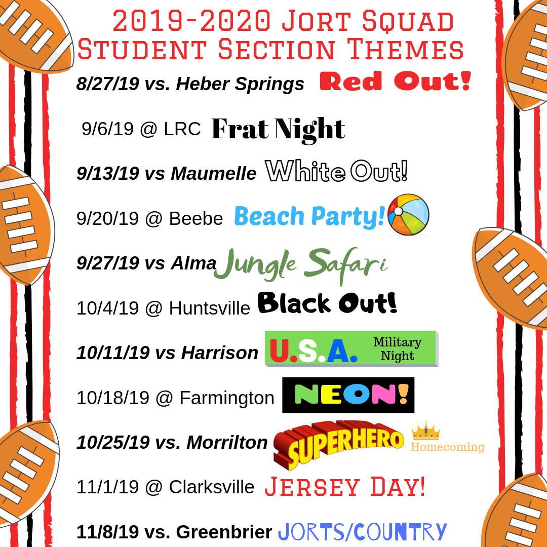 2019-2020 Jort Squad Student Section Themes