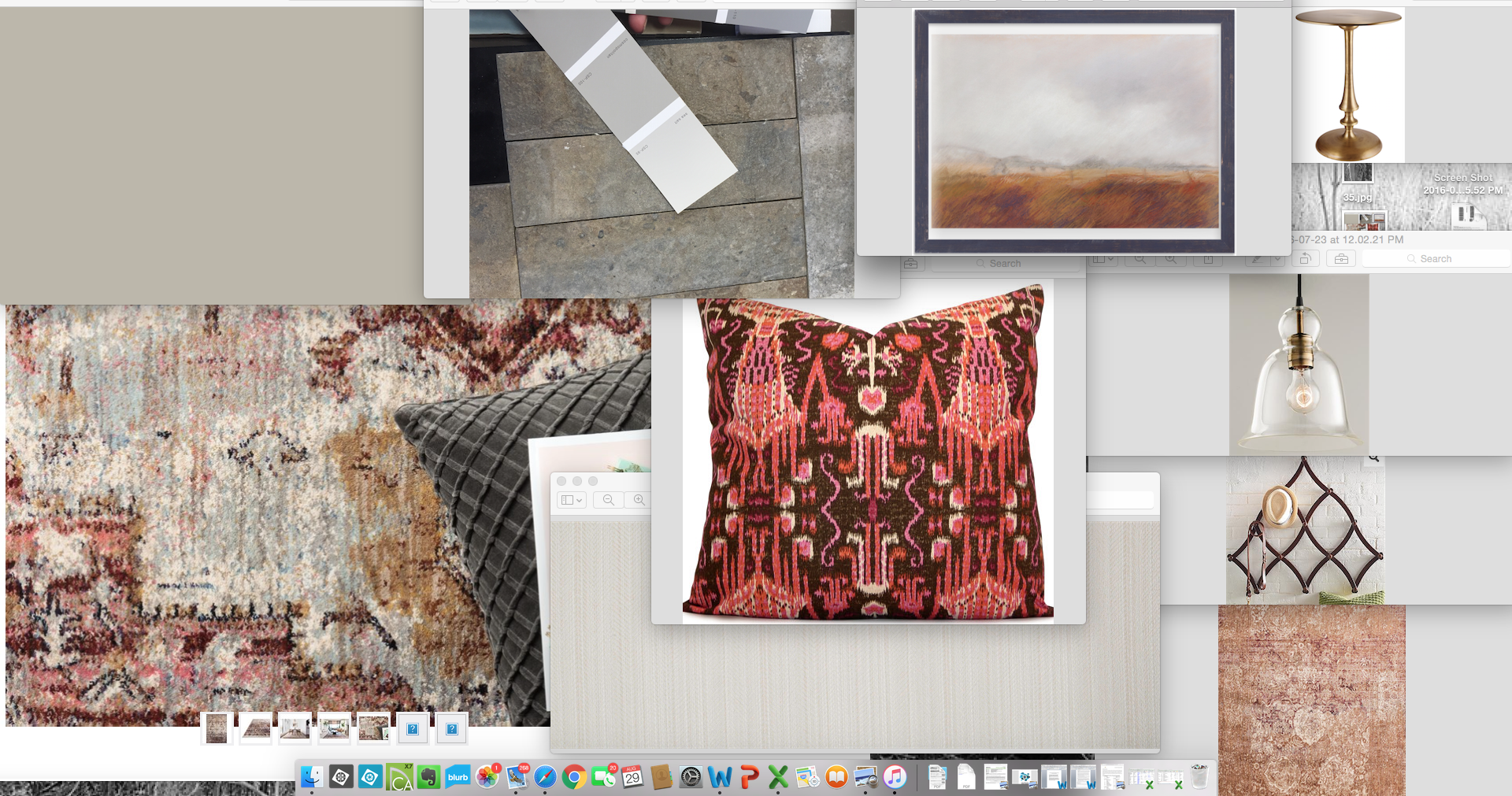 Any number of windows are open on our computer at all times. Here is a screen shot of my brainstorm session with colors, textures, and specific items we picked out for the Lippie Project.
