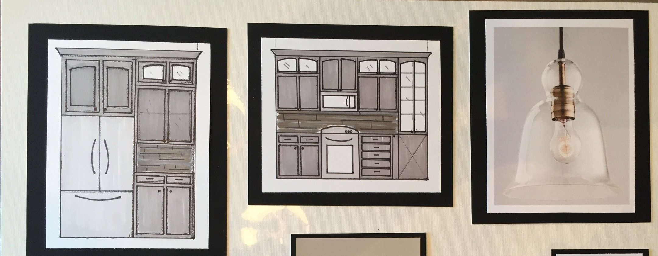 One of our presentation boards includes hand drawn and watercolored renderings of the kitchen.
