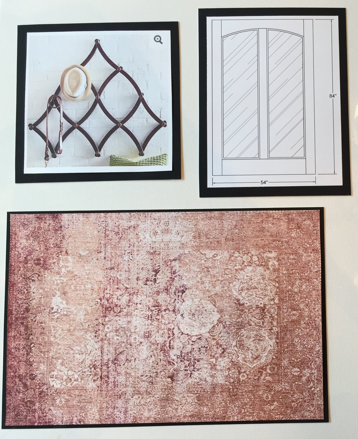 This board is a presentation of the foyer and includes a rendering for the custom track door for the master bedroom and bathroom.