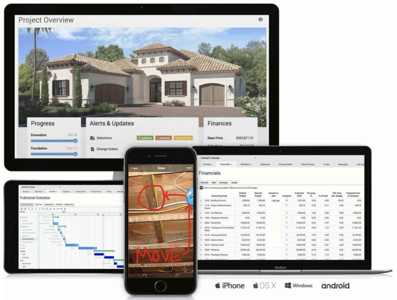 Project Roadmap - We take the guesswork out of the building and remodeling process. Through our custom project management system, you are able to view the schedule, job log, progress photos, financials and more! We prioritize clear communication while working together through the construction process.