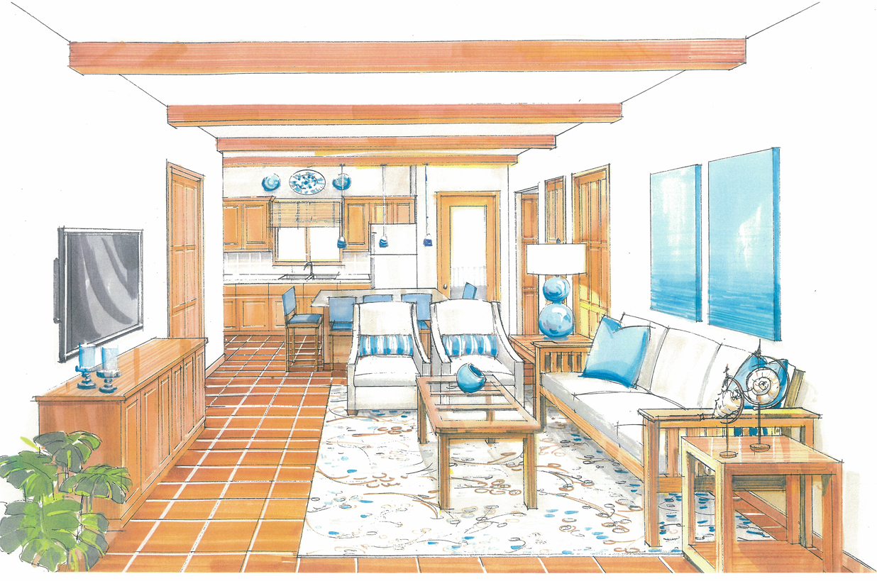 The Two and Three Bedroom Living Room and Kitchen with optional table