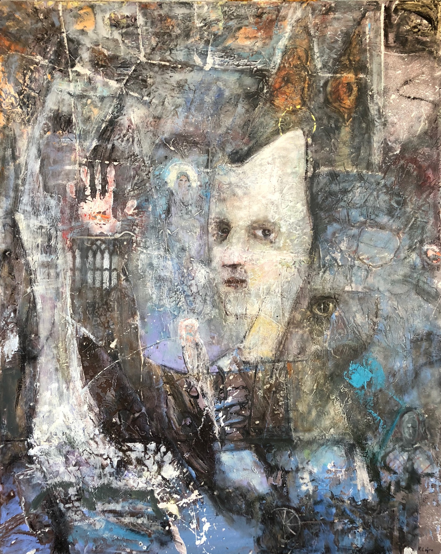 Windows, 50x40, Oil and Mixed Media on panel