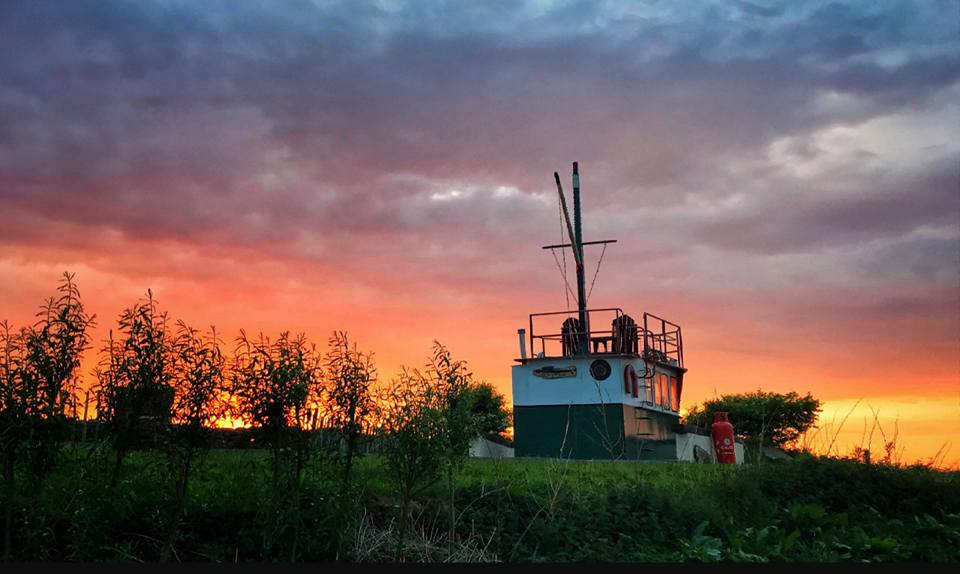 Our Glamping Trawler at Sunset