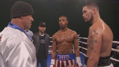 Tony Bellew on the set of Creed. Credit - Sky Sports.
