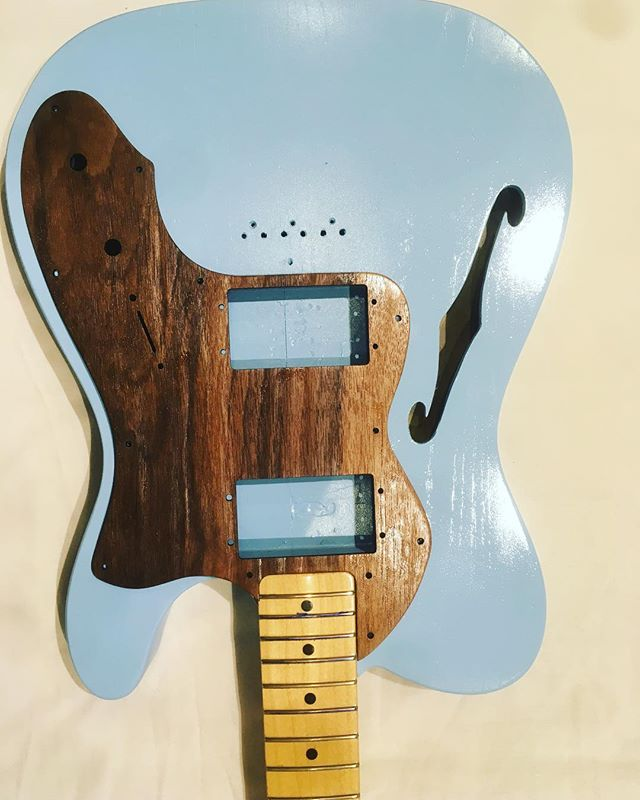 Need some help! Made a few pickguards for the Tele build but can't decide which to use:  1. Walnut (not sure how strong this will be) 2. Graphite Grey  3. Original Pearloid  Help me decide!