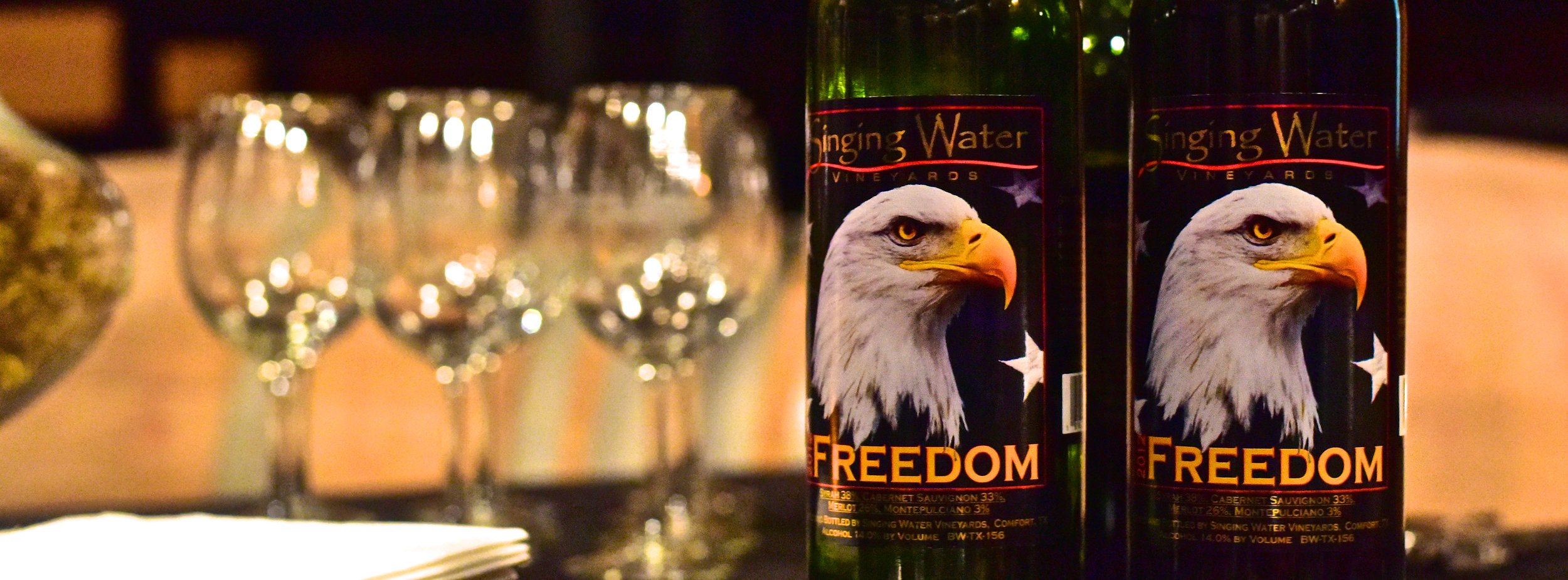 Our wine with a purpose. Proceeds from each bottle of Freedom go to the Fisher House and USO in San Antonio, TX.