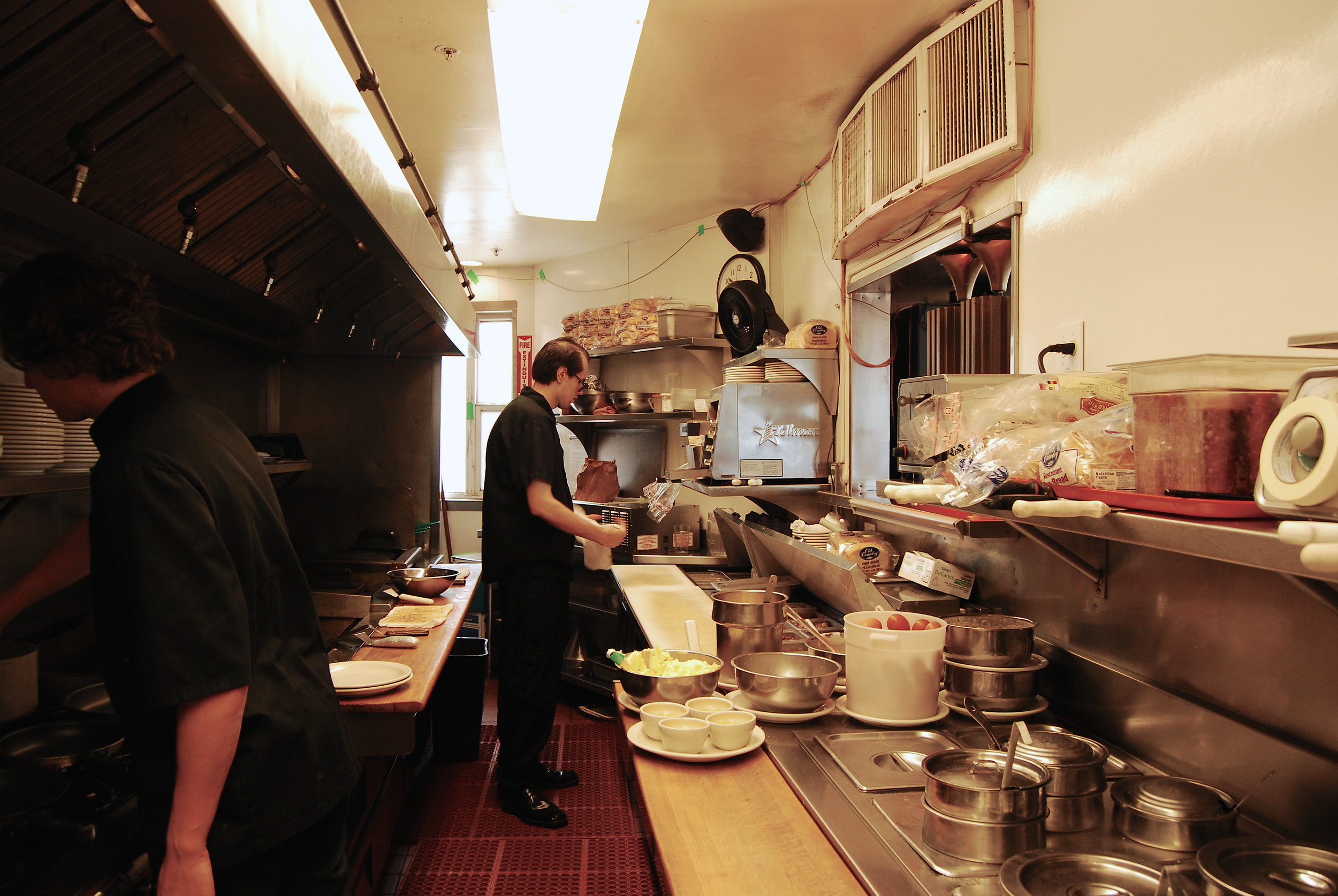 Inside the kitchen at Louis'.