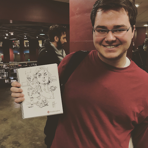 One lucky student receives a IA sketchbook with an original Wesley Burt sketch included.
