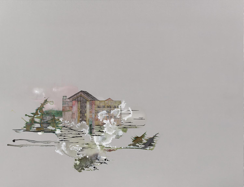 "Cameron Parish 1 -22""x 30, ink, gouache, graphite, acrylic on paper, 2015"