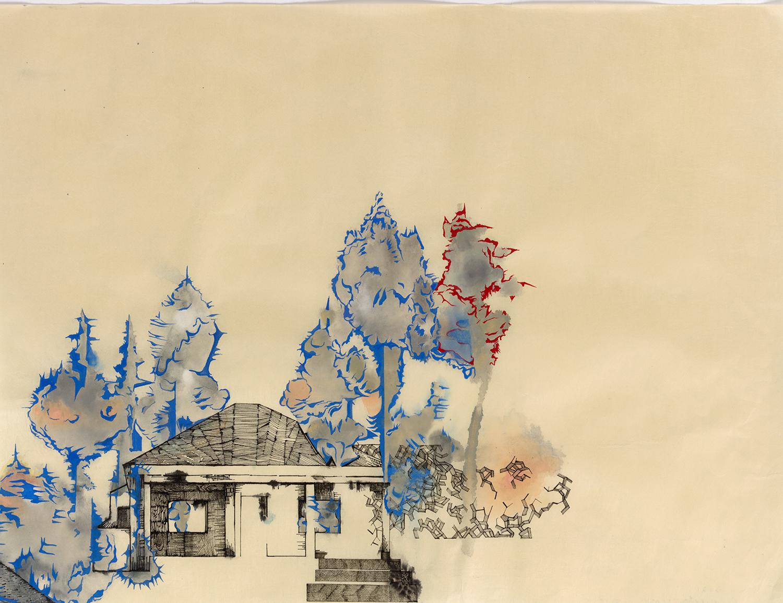 "Garfield 1 -16""x 21"", ink, gouache on Gampi paper, 2014"