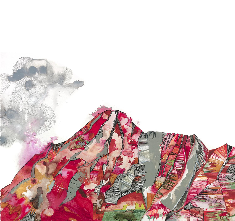 "Kalaupapa 5 -20""x20, graphite, ink, gouache on paper, 2013"