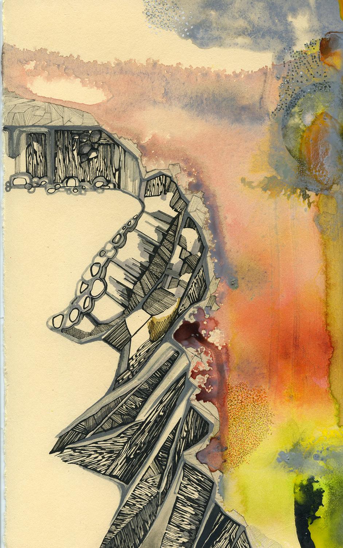 "Kalaupapa 2 - 7""x 11"", ink, gouache on paper, 2012"
