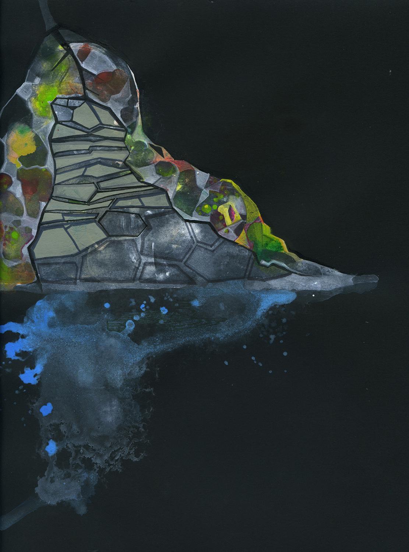 "Kalaupapa 4 - 10""x11.5"", ink, gouache on paper, 2012"