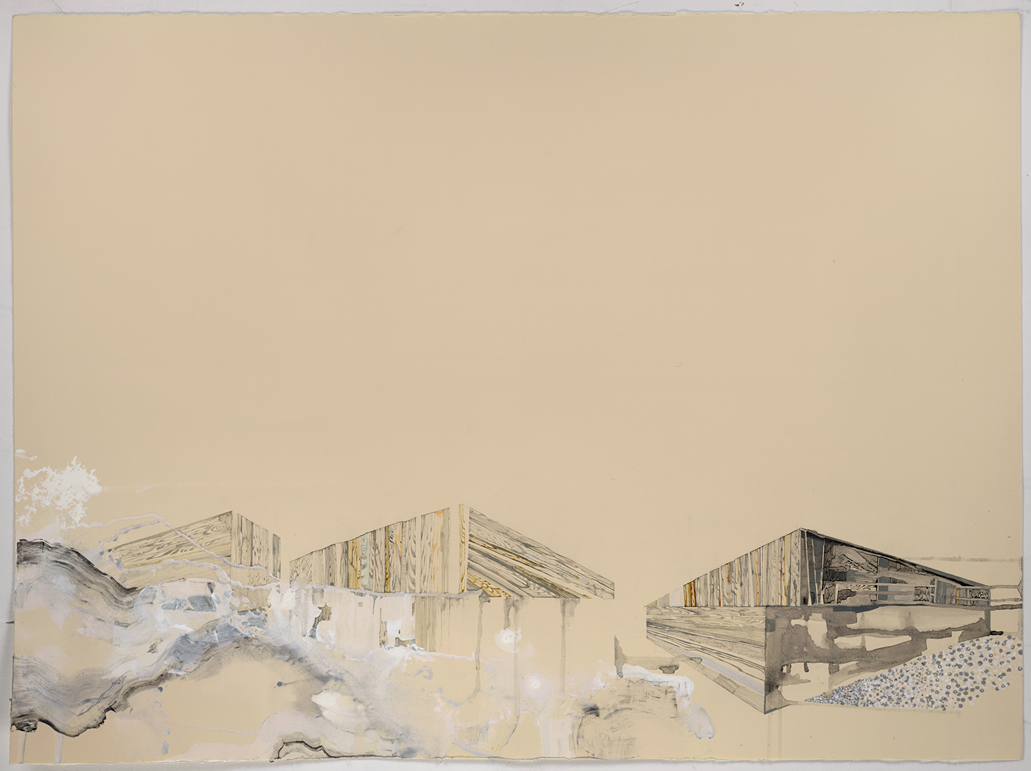 "Loving 3 (Oil driller camps) - 22""x 30"", ink, gouache, graphite on paper, 2012"