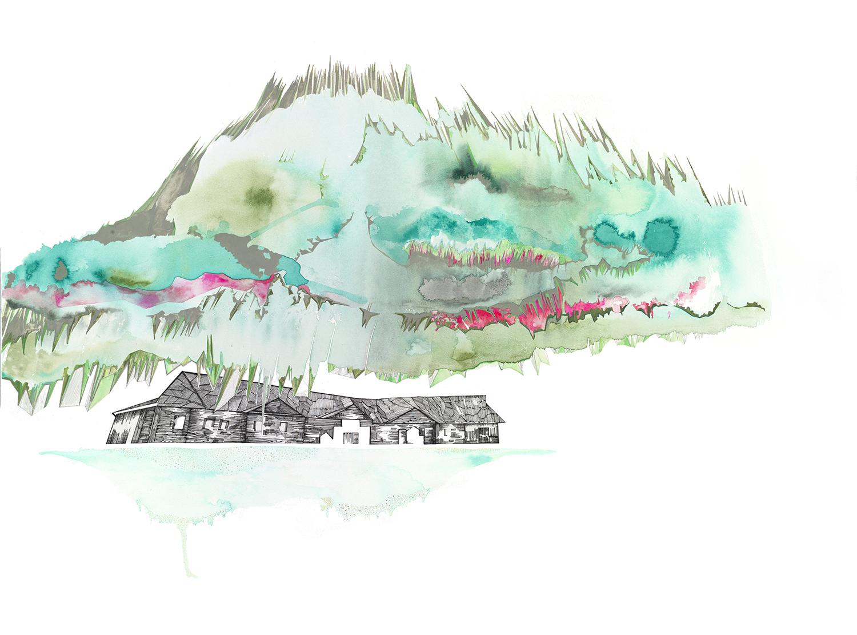 "Yukon 5 -22x 30"", graphite, ink, gouache on paper 2013"