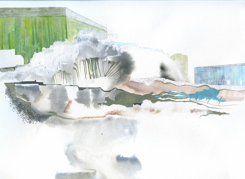 "Yukon 8 study (Galena) -10.5"" x 14, ink, gouache, graphite on paper, 2012"