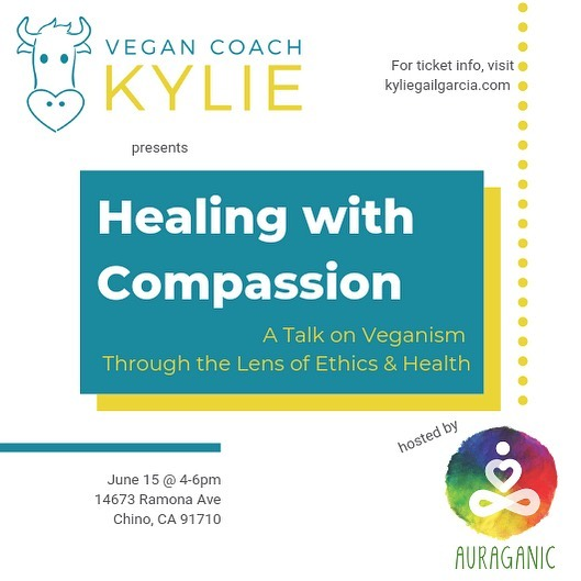 """Guys!! We have a guest speaker!! ................... Kylie Gail Garcia (aka """"Vegan Coach Kylie"""") is coming June 15th to share her story of healing!  Kylie invites you to call in peace and compassion with the transformative power of plant based nutrition. If you're curious about how a vegan lifestyle can change your life, don't miss this chance to find out!  Tickets are donation-based. Any donations are used to support Kylie's activism.  Space is limited: Get your tickets from @vegan.coach.kylie"""