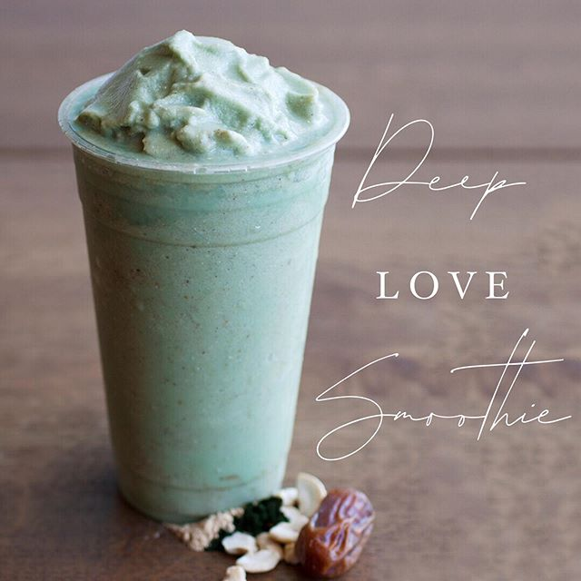 Our Deep Love Smoothie is great for that afternoon slump 👊🏼✨⚡️🔥. It's full of nutritious ingredients 🌱such as dates, cashews, spirilina, maca powder, and cinnamon. Available at both our Chino and Tustin locations. 📸: @livewellbakery