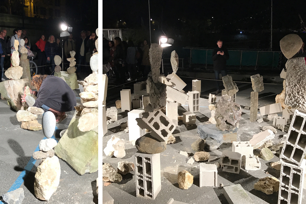 There were a few of these artists performing this night. At first look we weren't exactly impressed because we just thought it was a sculpture garden - surely the stacks were held together with beams or some such stabilizer. We soon found out the artists were actually balancing each piece of rock or debris on top of each other. Some towers looked dangerously precarious but they kept their form while being simultaneously alluring.