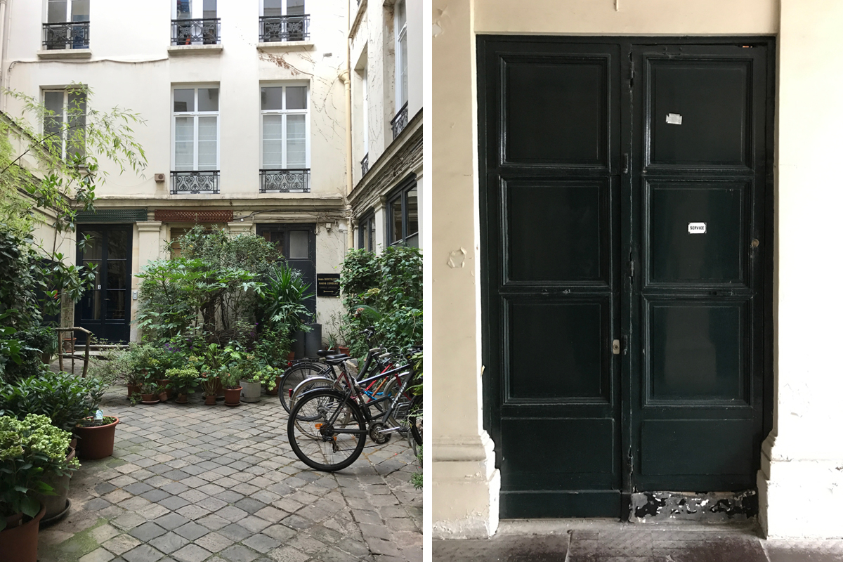 This is the courtyard of the apartment building we stayed in. The history was that our apartment used to be the maid's chambers. They still have a little service sign on the front door.
