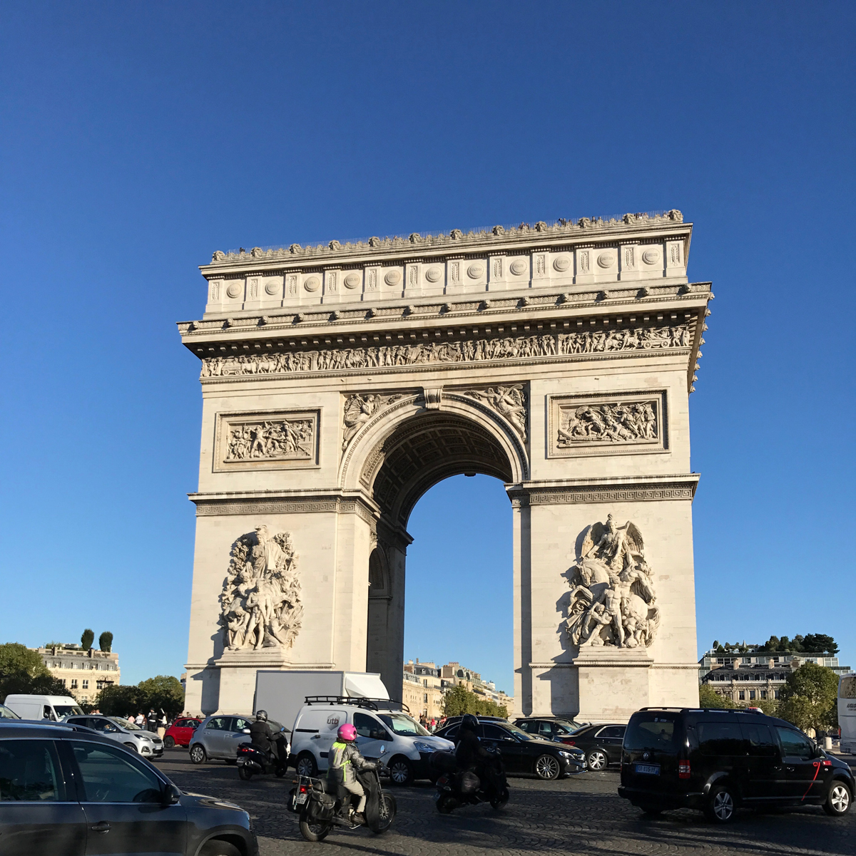 The lighting was ideal when we came upon the Arc de Triomphe. It took us a little bit to find the tunnel to it but once we did it was splendid.