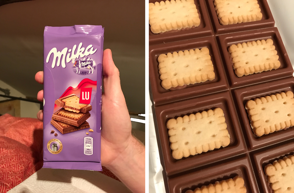 Bless you Milka! We found Milka at a convenience store in our neighborhood. As you can see it is a chocolate bar with wafers in the center of each piece. If you ever need any favors we accept Milka as payment.