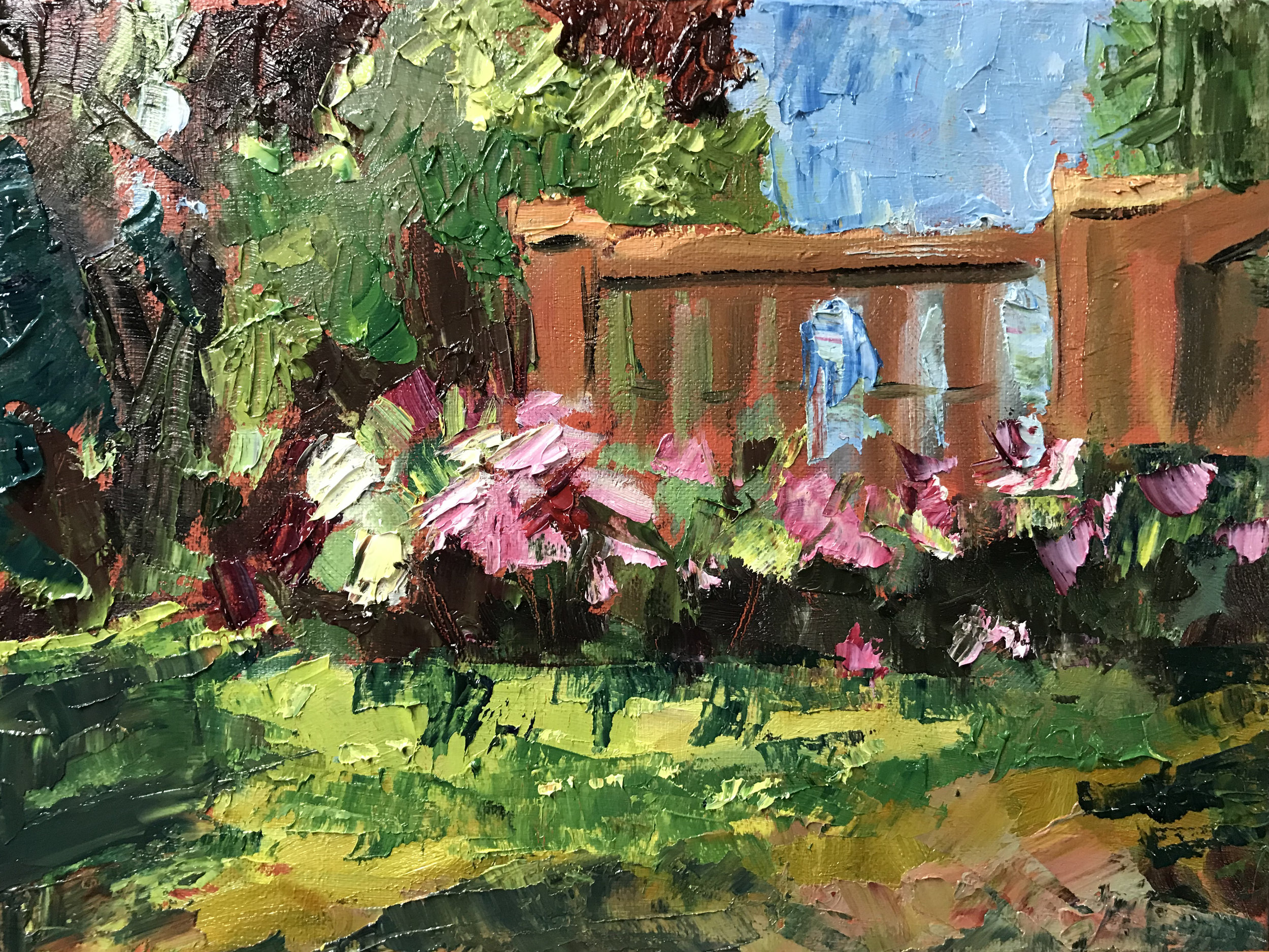 Peony Explosion , 12 x 9 oil on canvas