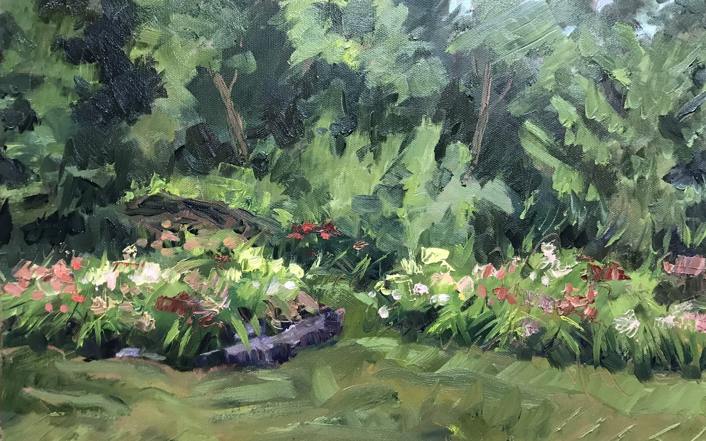 Daylily Oasis , 16 x 10, oil on canvas