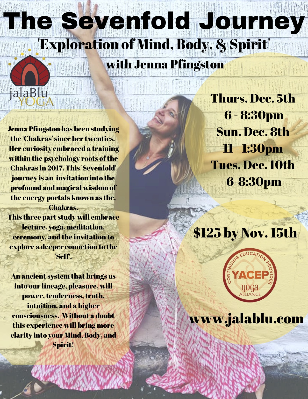 Whether you know about the Main Energy Portals (Chakras) in the body (not just the physical body) or you are NEW to the journey this will be a potent and profound journey that will rest in your soul for the rest of your human experience!  Series Includes  Yoga Meditation Mantra Mudra  Ceremony with Fire, Scents of Clearing, Ceremonial Tea, and MORE!