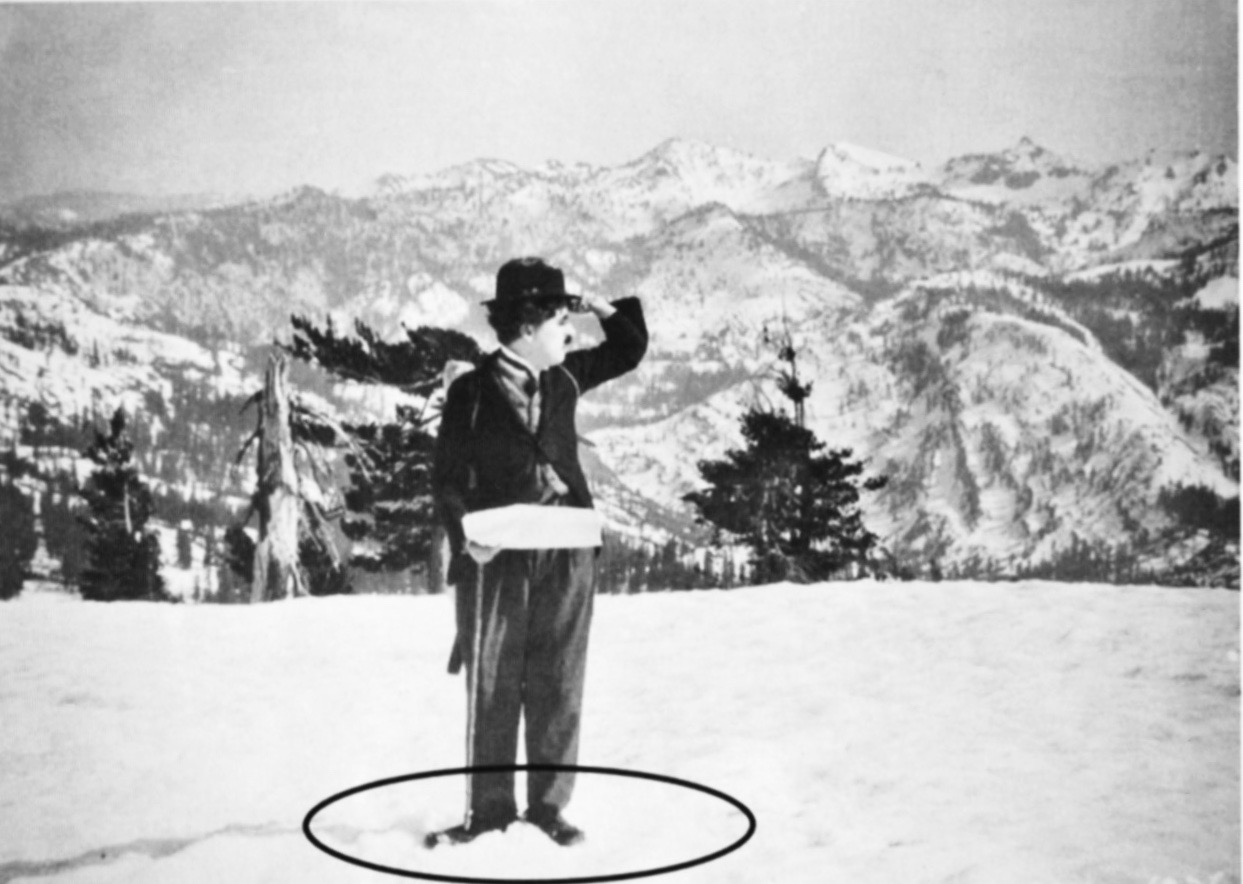 Another image of Chaplin at Donner summit. Circle has been superimposed on photograph.