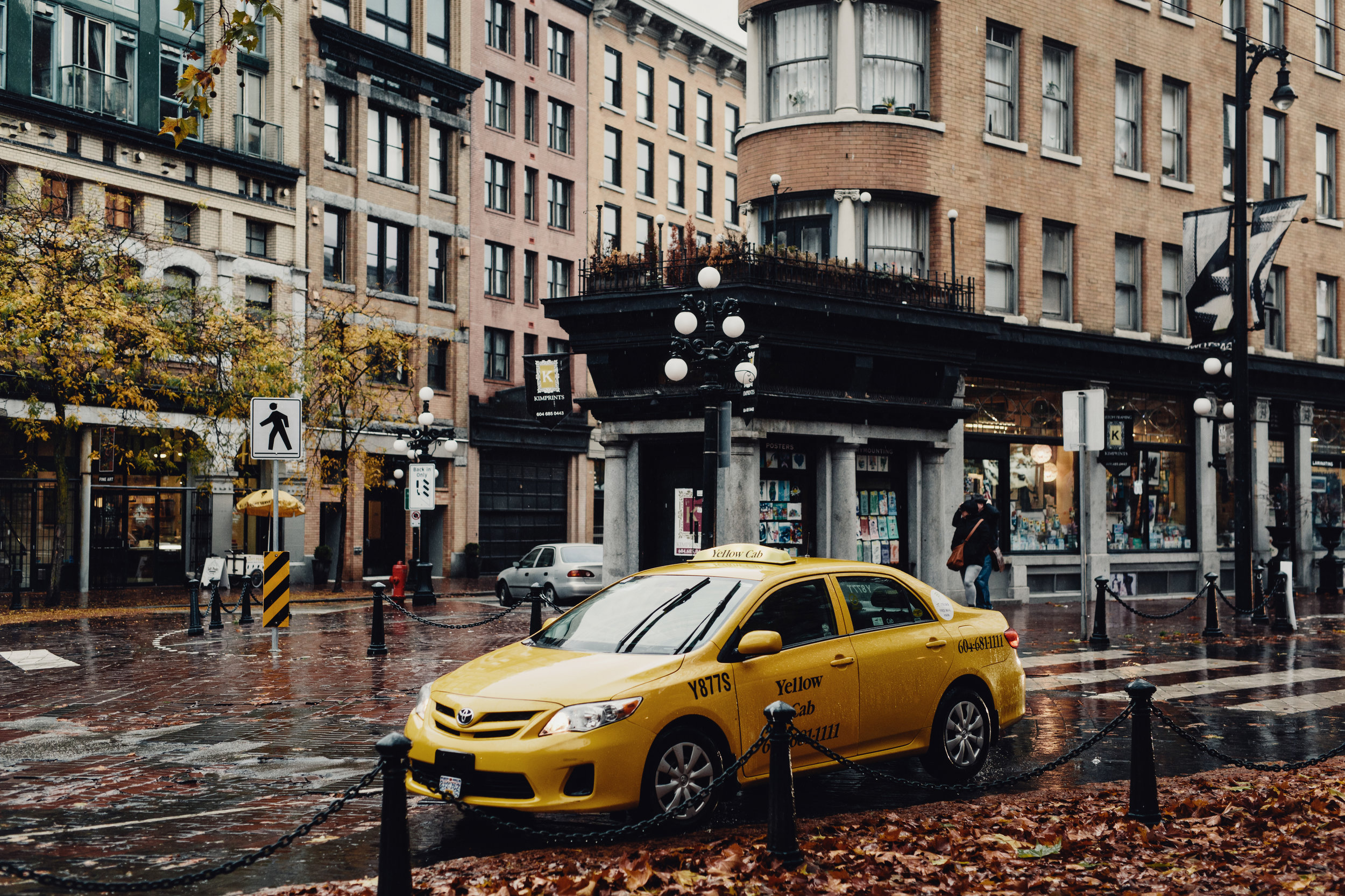Yellow Taxi on the street in Gastown