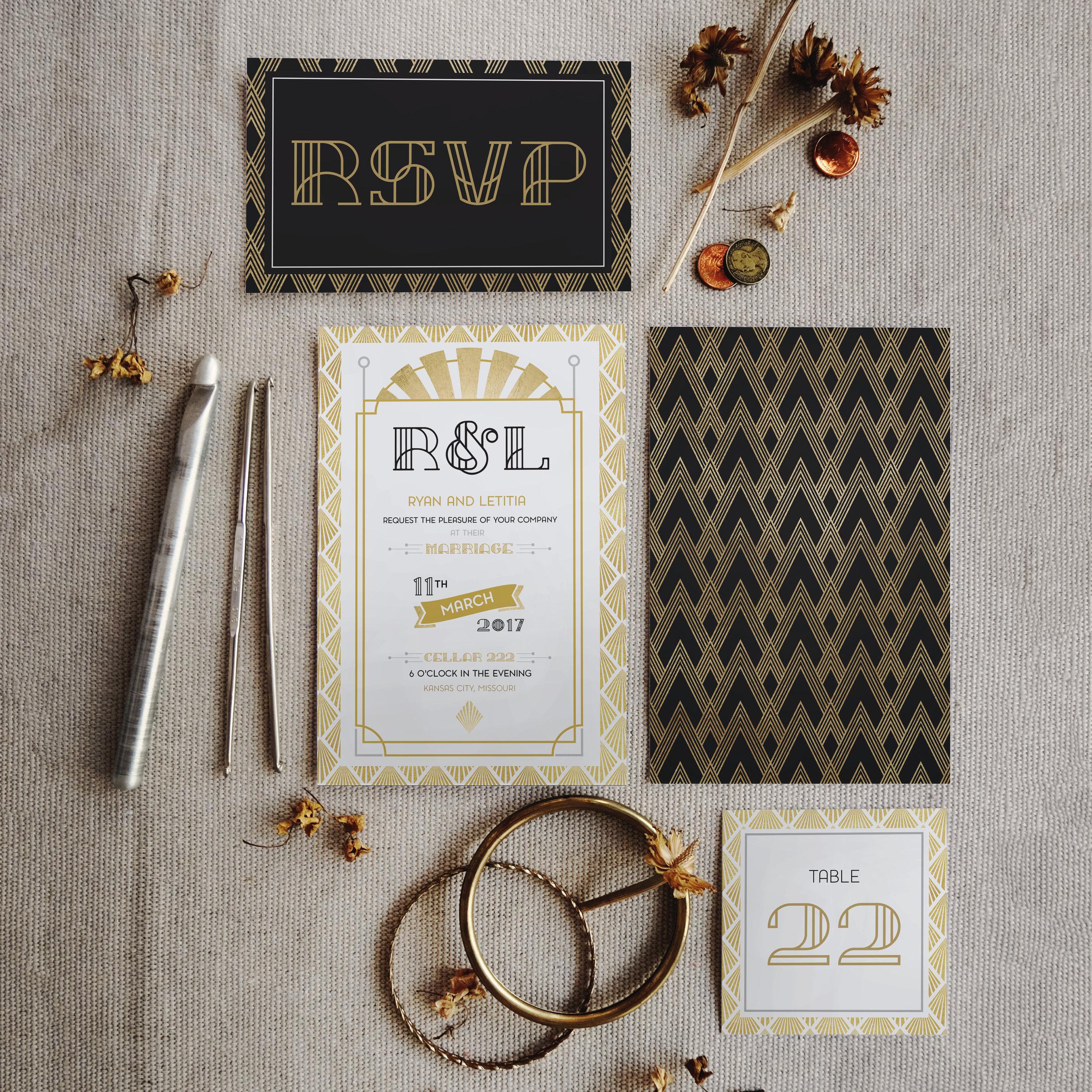 Stationary Design    Art Deco Wedding Suite